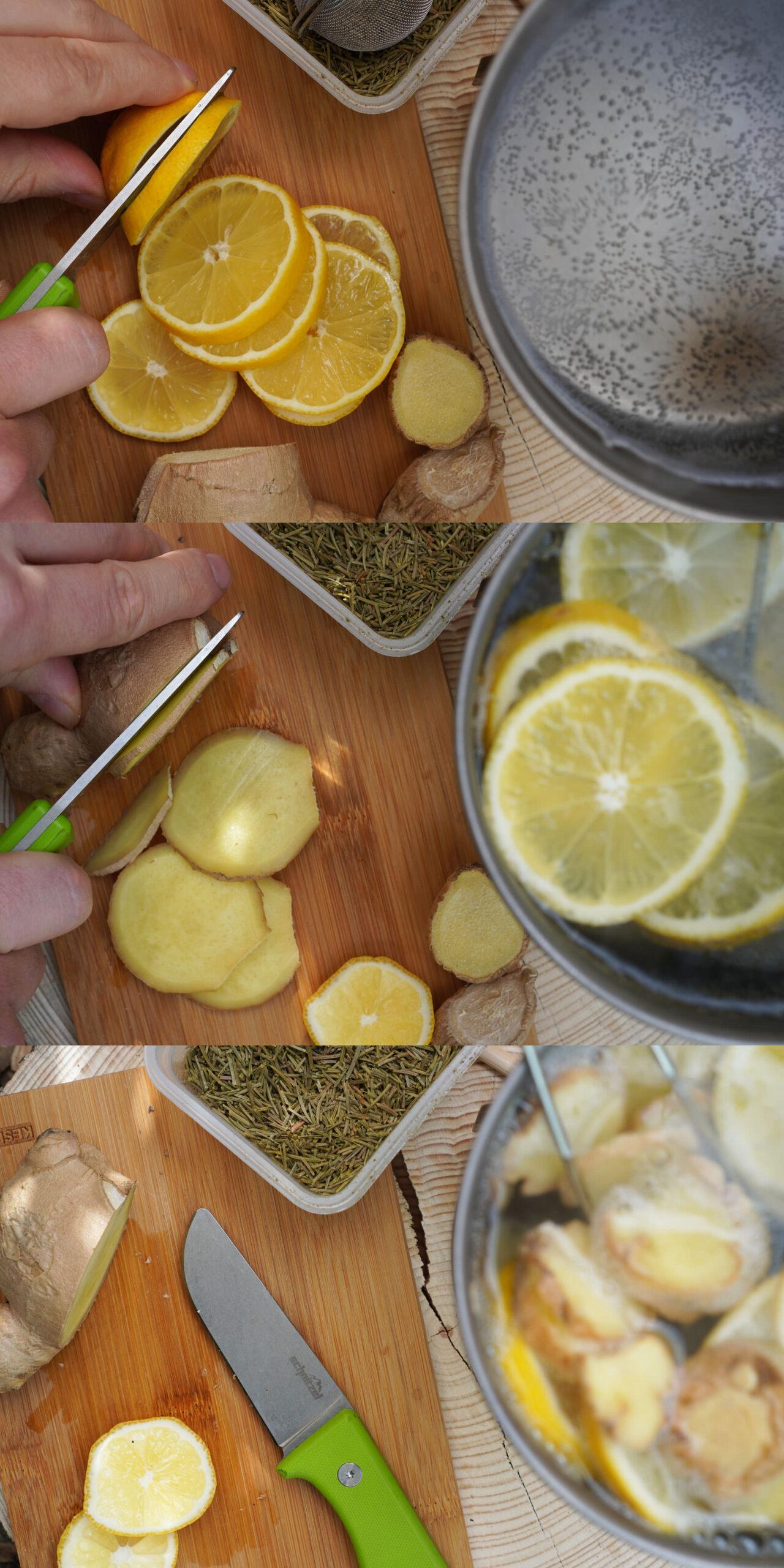 Schnitzel UNU als Outdoor Kochmesser beim Zubereiten von Zitronen-Ingwer-Fichtennadel-Tee.
